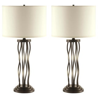 Antique Bronze Metal Scrollwork Table Lamp (Set of 2)