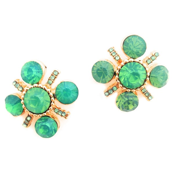 Spectacular Green Opal Rhinestone Stud Earrings