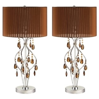 Table Lamp with Crystals and Round Shade (Set of 2)