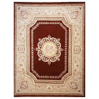 Hand-Knotted Burgundy Orleans Rug
