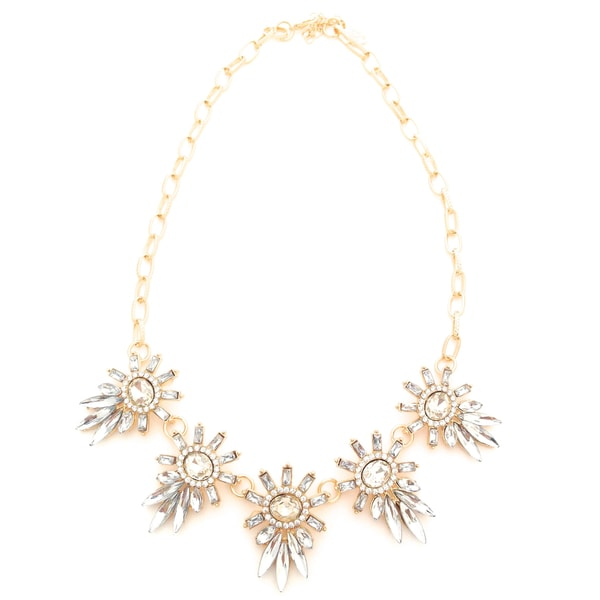 Five Stars Clear Rhinestone and Acrylic Statement Necklace