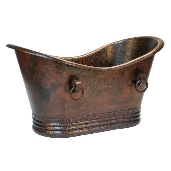 Premier Copper Products 60 Inch Hammered Copper Double Slipper Bathtub With R