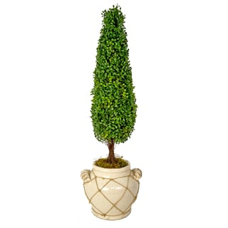 Silk Boxwood Tree in Cream Ceramic Planter