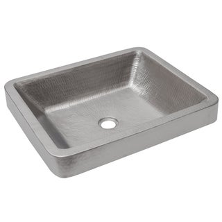 Premier Copper Products Rectangle Skirted Vessel Hammered Copper Sink in Electroless Nickel