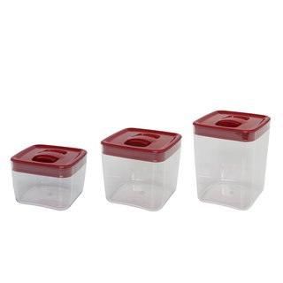 Click Clack Cube Storage Container with Red Lids (Set of 3)