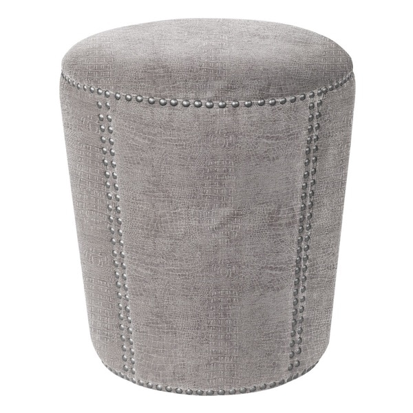 Jennifer Taylor Grey Alligator Skin Round Ottoman