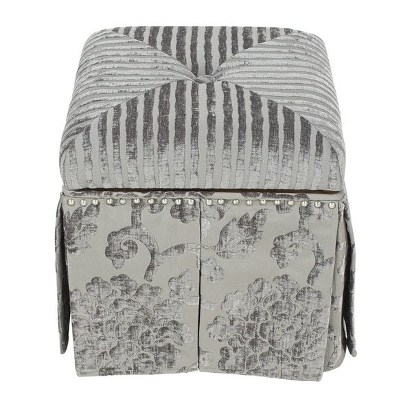 Jennifer Taylor Grey Floral Sydney Storage Stool