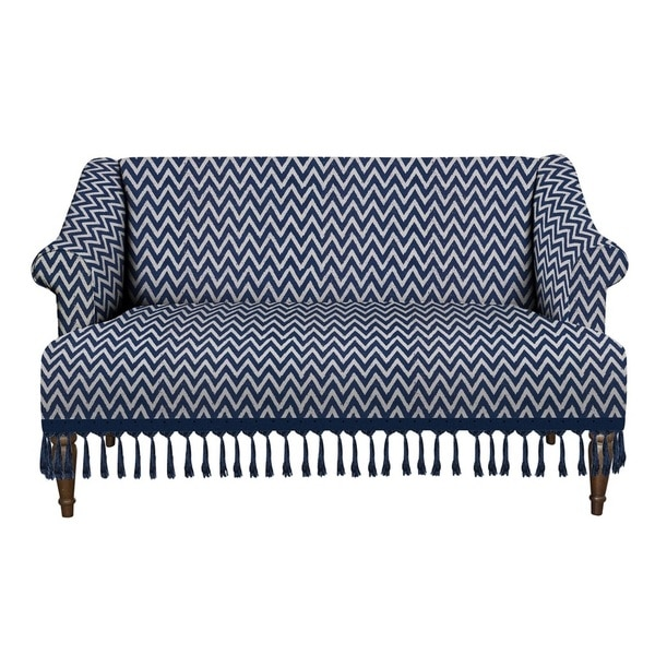 Jennifer Taylor Blue and White Zig Zag Stonewash Fabric Sette