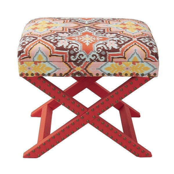 Jennifer Taylor Orange Multi-colored Upholstered Ottoman