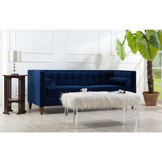 Jack Estate Blue Tufted Tuxedo Sofa