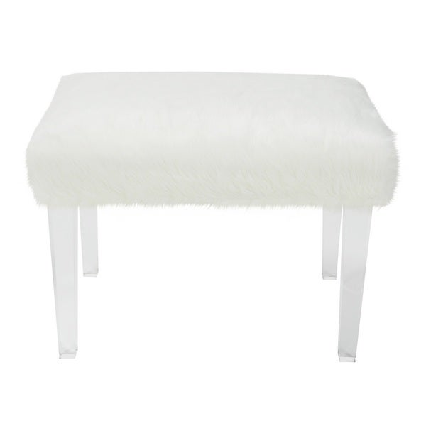 Jennifer Taylor Faux Fur 19 Inch White Upholstered Bench 17276182 Overstock Shopping Great: white upholstered bench