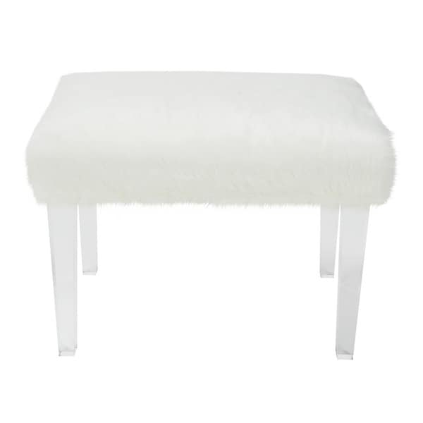 Jennifer taylor faux fur 19 inch white upholstered bench 17276182 overstock shopping great White upholstered bench