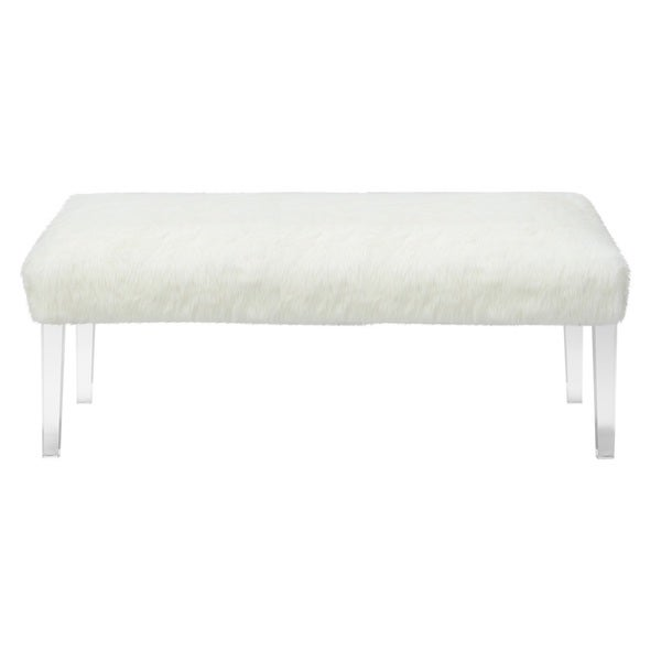 jennifer taylor white faux fur acrylic leg bench 17276203