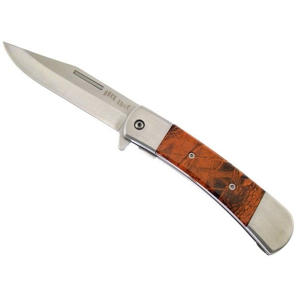 Frost Cutlery Buck Shot Orange Camo Quick Release Tactical Knife (4.5 inches Closed)