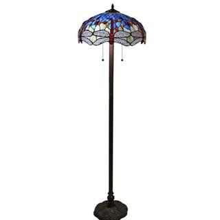 Hailey Tiffany-style 18-inch Blue Floor Lamp