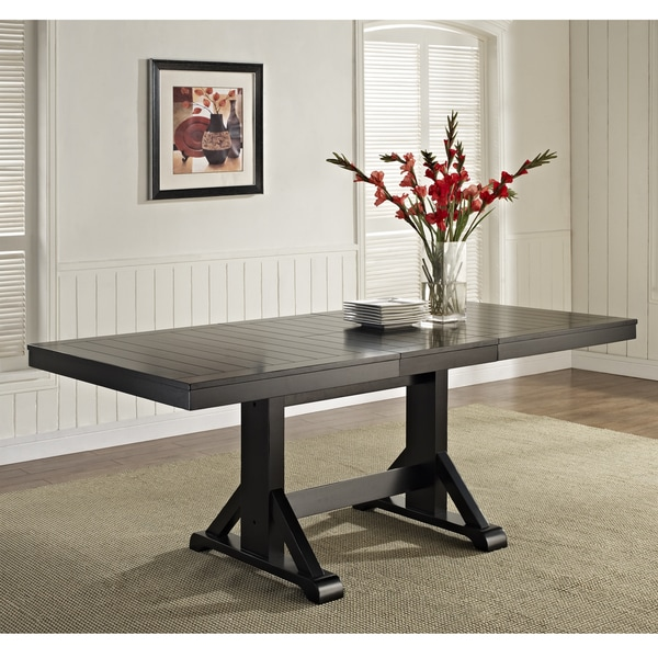 Extendable Distressed Black Wood Dining Table