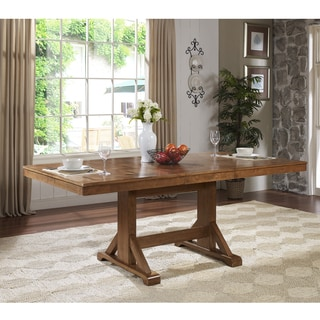 Antique Brown Wood Concealed Butterfly Leaf Dining Table