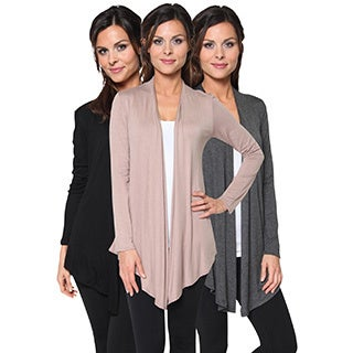 FTL Women's Lightweight Soft Open Front Layering Cardigans (Pack of 3)