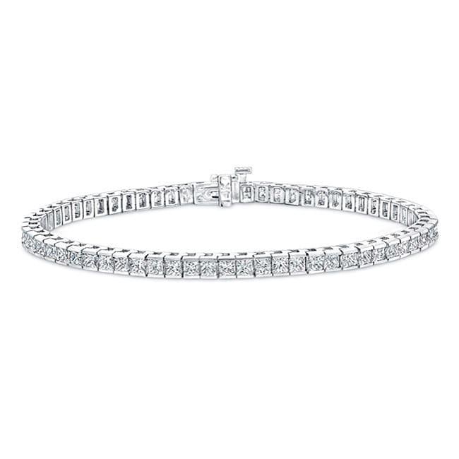 14k White Gold 6ct TDW Channel-set Princess Cut Diamond Tennis Bracelet