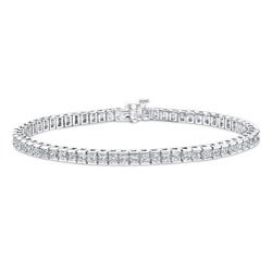 14k White Gold 6ct TDW Channel-set Princess Cut Diamond Tennis Bracelet