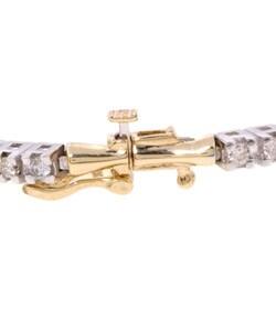 14k Gold 1ct Diamond 3-stone Bar Link Bracelet