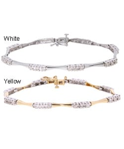 14k Gold 1ct Diamond 3-stone Bar Link Bracelet