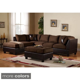 3-piece Modern Reversible Microfiber and Faux Leather Sectional Sofa with Large Ottoman