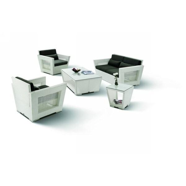 Renava H7 White Wicker Patio Lounge Chair Set