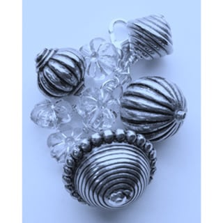Silvertoned Bauble and Floral Bundle Charm