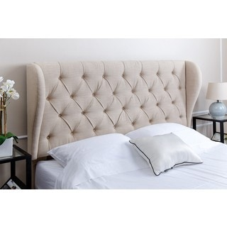 Abbyson Living Chambers Tufted Wheat Linen Wingback Headboard, Queen/Full