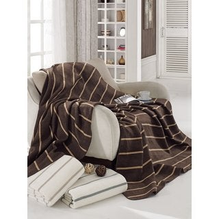 Ottomanson Striped Full/ Queen-size Cotton Blend Plush Throw Blanket