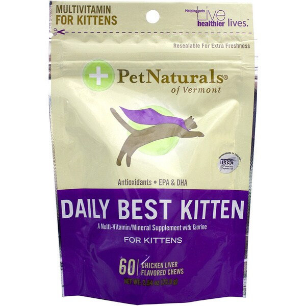 Pet Naturals of Vermont Daily Best Kitten Cat Chews (60 Chews)