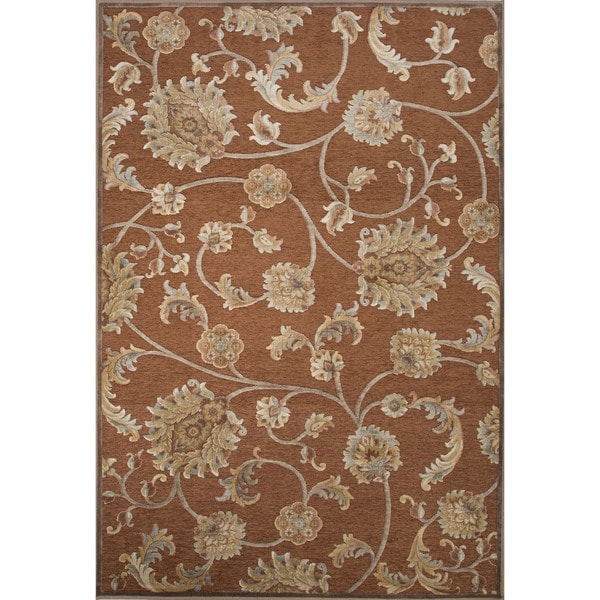 Machine Made Floral Pattern Sierra/Oyster white Chenille (9.2x12.6) Area Rug