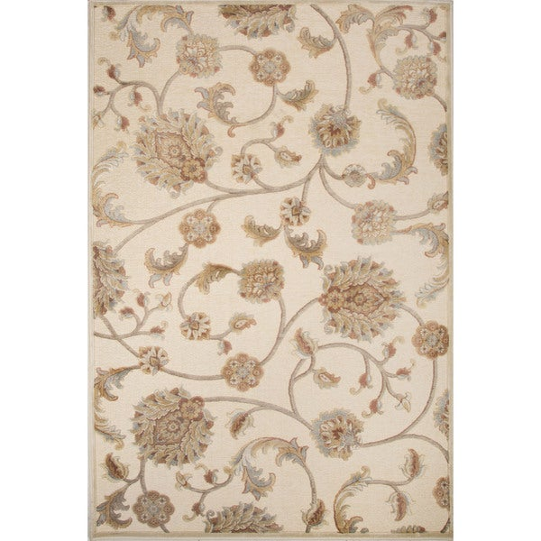 Machine Made Floral Pattern Oyster white/Tidal foam Chenille (9.2x12.6) Area Rug