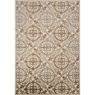 Machine Made Geometric Pattern Ivory/White Chenille (9.2x12.6) Area Rug