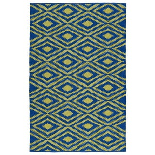 Indoor/Outdoor Laguna Navy and Yellow Ikat Flat-Weave Rug (8' x 10')