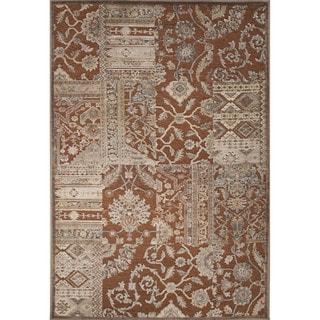 Machine Made Oriental Pattern Sierra/Oyster white Chenille (5.3x7.8) Area Rug