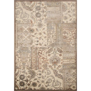 Machine Made Oriental Pattern Tan Chenille (5.3x7.8) Area Rug