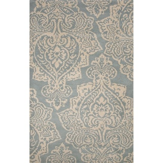 Hand-Tufted Oriental Pattern Cloud cream/Tourmaline Wool (5x8) Area Rug