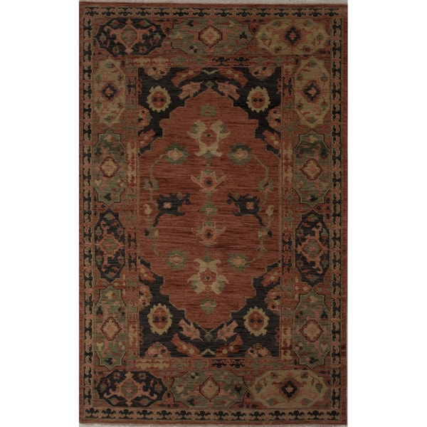Hand-Knotted Oriental Pattern Phantom/Muted clay Wool (5.6x8) Area Rug
