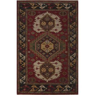 Hand-Knotted Oriental Pattern Baked apple/Fog Wool (5.6x8) Area Rug