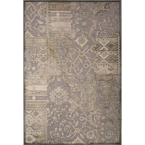 Machine Made Oriental Pattern Neutral gray/Fog Chenille (5.3x7.8) Area Rug (As Is Item)