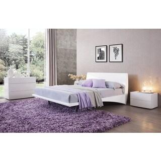 MONACO Platform Bed +2 Night Stands - Glossy White