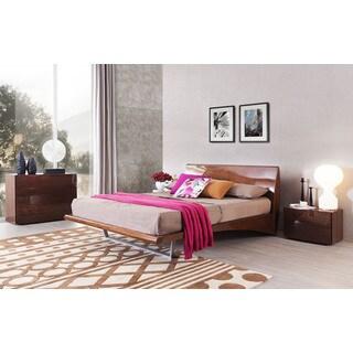MONACO Platform Bed +2 Night Stands - Glossy Walnut