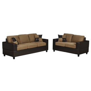 Microfiber and Faux Leather 2-piece Modern Living Room Set
