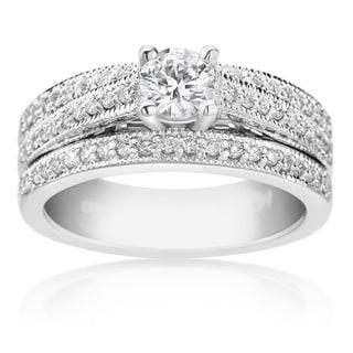 SummerRose 14k White Gold 7/8ct TDW Diamond Engagement Ring Set (H-I, SI1-SI2)
