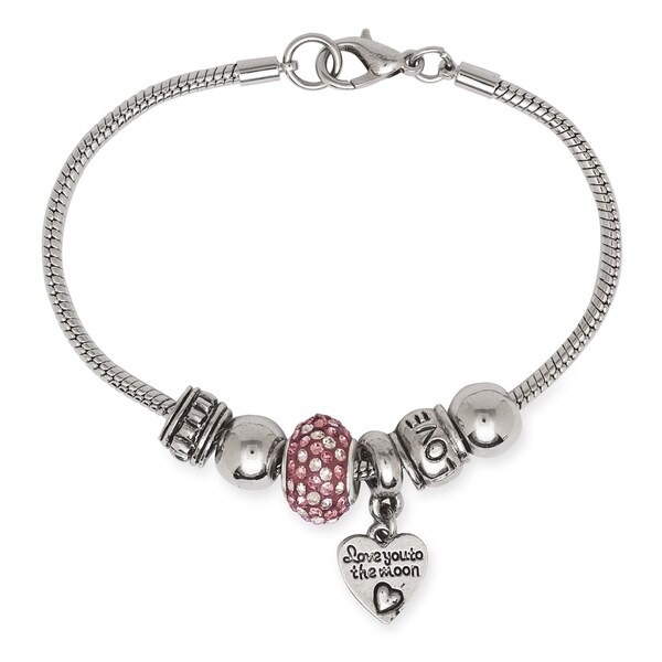 La Preciosa Silvertone 'Love You to the Moon and Back' Charm Bracelet