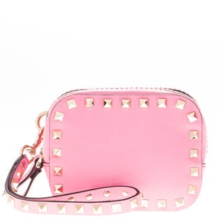 Valentino Rockstud Pink Double Compartment Wristlet