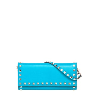 Valentino Rockstud Sky Blue Leather Travel Wallet