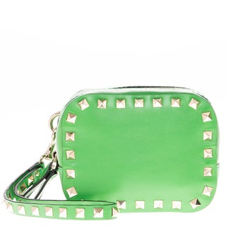 Valentino Rockstud Green Double Compartment Wristlet